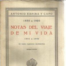 Libros antiguos: NOTAS DEL VIAJE DE MI VIDA. ANTONIO ESPINA Y CAPO.EN PLENO EJERCICIO PROFESIONAL.T.CALPE.1926.MADRID. Lote 41317960