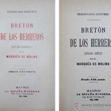 Libros antiguos: MOLINS, MARQUÉS DE. BRETÓN DE LOS HERREROS. HACIA 1890.. Lote 51437691