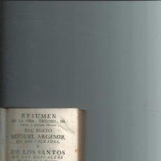 Libros antiguos: 1780 - MALLORCA - VIDA ... MIGUEL ARGEMIR ... MIGUEL DE LOS SANTOS ... - REYNÉS, LORENZO. Lote 52697011