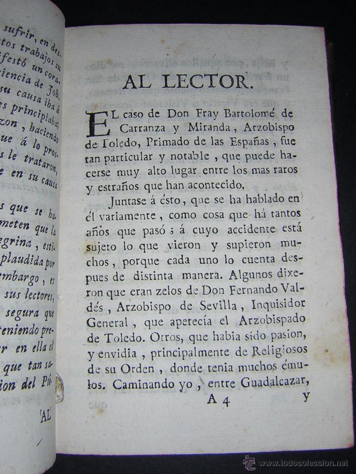 Libros antiguos: 1788 - SALAZAR DE MIRANDA - VIDA DE DON BARTOLOMÉ DE CARRANZA Y MIRANDA, ARZOBISPO DE TOLEDO - Foto 3 - 53750034