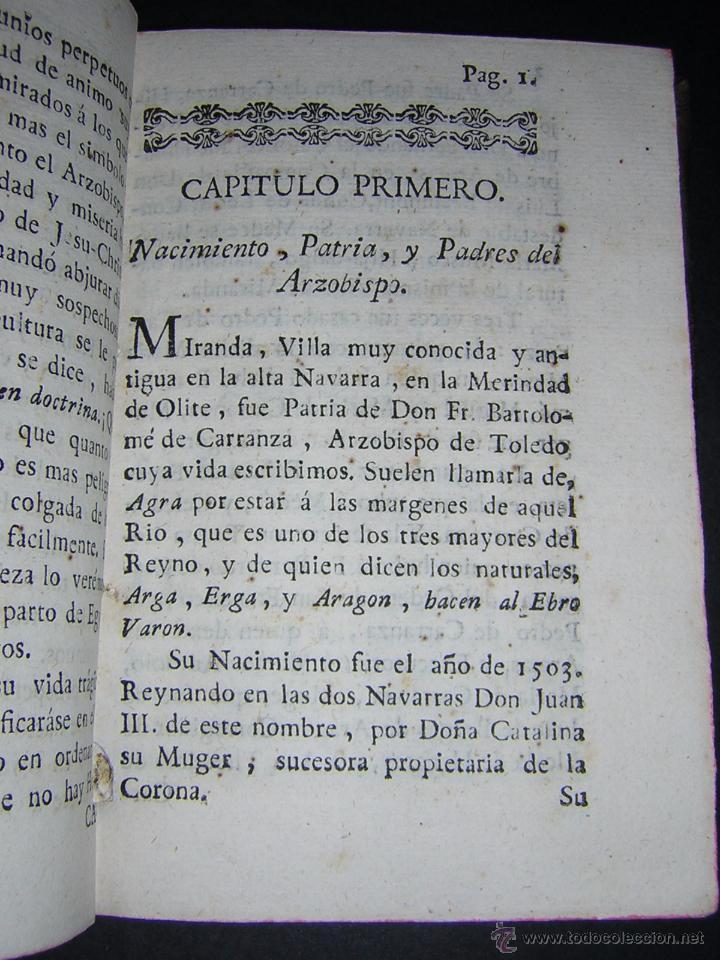 Libros antiguos: 1788 - SALAZAR DE MIRANDA - VIDA DE DON BARTOLOMÉ DE CARRANZA Y MIRANDA, ARZOBISPO DE TOLEDO - Foto 4 - 53750034