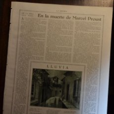 Libros antiguos: EN LA MUERTE DE MARCEL PROUST RESEÑA POR SANTIAGO VINARDELL . REVISTA LA ESFERA 1916. Lote 55005312
