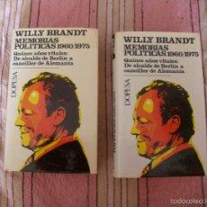 Libros antiguos: WILLY BRANDT - MEMORIAS POLITICAS DE ALCALDE DE BERLIN A CANCILLER DE ALEMANIA - DOS TOMOS. Lote 57149939