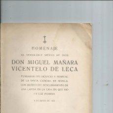 Libros antiguos: 1923 - SEVILLA - HOMENAJE ... DON MIGUEL MAÑARA VICENTELO DE LECA. Lote 57284832