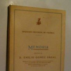 Libros antiguos - MEMORIA PRESENTADA POR D. EMILIO GOMEZ NADAL. GOMEZ NADAL Emilio. 1931 - 79486693