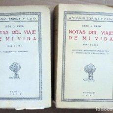 Libros antiguos: NOTAS DEL VIAJE DE MI VIDA. 1850-1920. (2 TOMOS). Lote 85748452