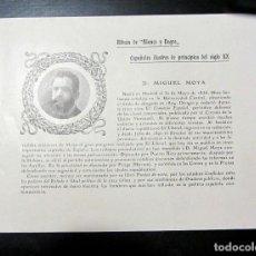 Libros antiguos: HOJA DEL ALBUM DE BLANCO Y NEGRO, BIOGRAFÍA DE MIGUEL MOYA, AÑO 1904. Lote 98801495