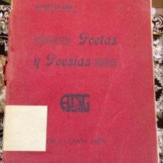 Libros antiguos: POETAS Y POESIAS, ALFREDO CAZABAN, CRONISTA DE JAEN, TIP.LA UNION,1920,DEDICADO, RARISIMO. Lote 99094671