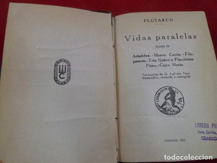 VIDAS PARALELAS TOMO IV. PLUTARCO. ESPASA CALPE. 1932 (Libros Antiguos, Raros y Curiosos - Biografías )