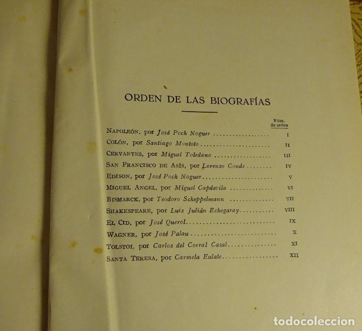 Libros antiguos: VIDAS DE HOMBRES ILUSTRES. 12 BIOGRAFÍAS COLÓN, EDISON, WAGNER, EL CID, TOLSTOI, SANTA TERESA - Foto 5 - 105290343