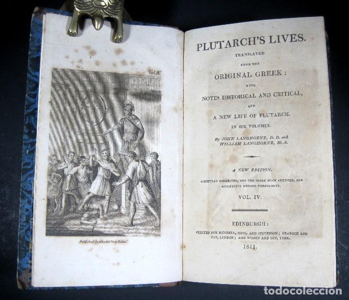 Libros antiguos: Año 1811 Julio César Alejandro Magno Pompeyo Antigua Grecia y Roma Plutarco Vidas paralelas Grabado - Foto 4 - 106969987