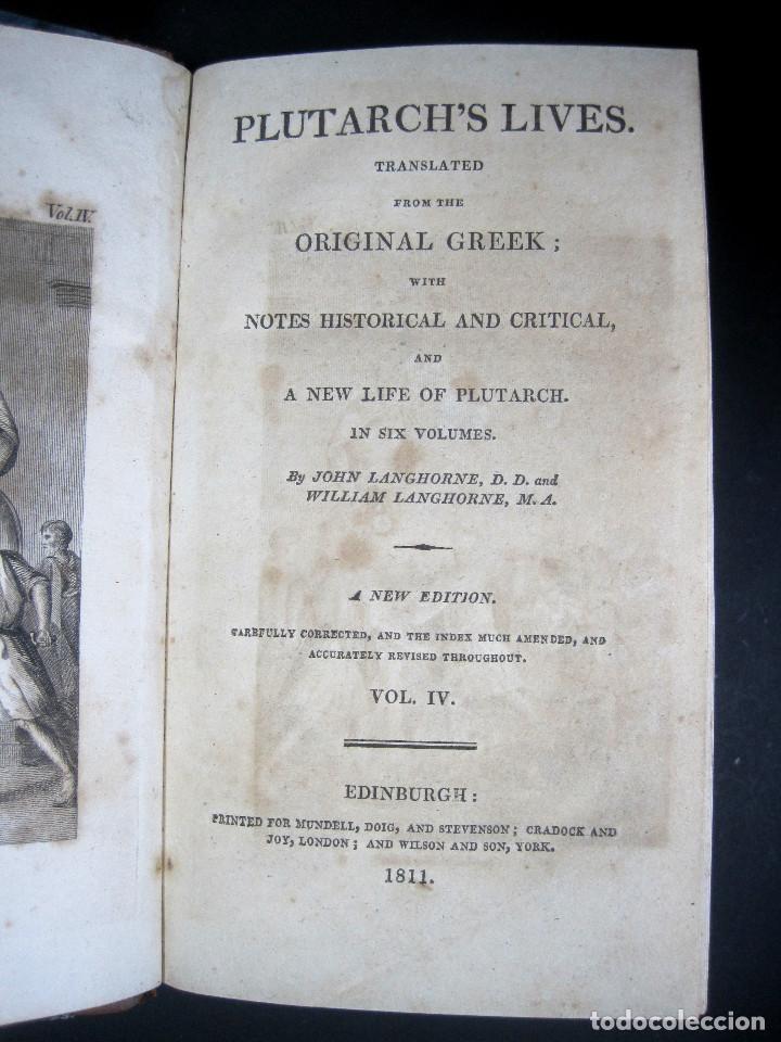 Libros antiguos: Año 1811 Julio César Alejandro Magno Pompeyo Antigua Grecia y Roma Plutarco Vidas paralelas Grabado - Foto 6 - 106969987