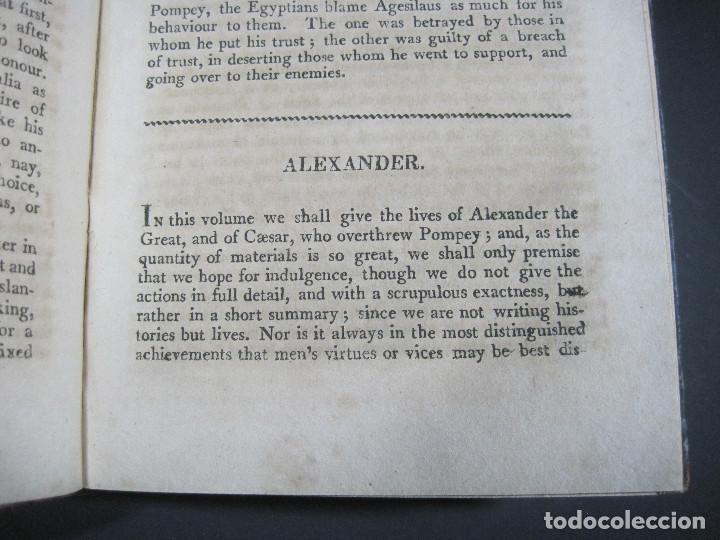 Libros antiguos: Año 1811 Julio César Alejandro Magno Pompeyo Antigua Grecia y Roma Plutarco Vidas paralelas Grabado - Foto 10 - 106969987