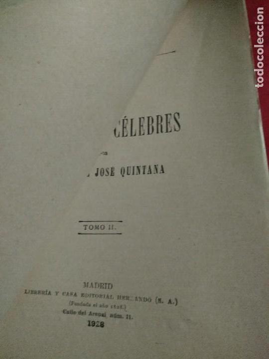 Libros antiguos: VIDAS DE LOS ESPAÑOLES CELEBRES TOMO I 1927 Y TOMO II 1928 MANUEL JOSE QUINTANA 1928 - Foto 2 - 107454343