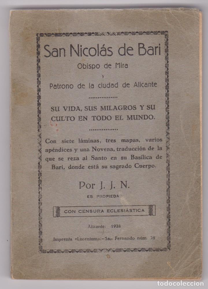 SAN NICOLÁS DE BARI PATRONO DE ALICANTE. VIDA MILAGROS Y CULTO. IMP.:LUCENTUM 1928 (Alte, seltene und kuriose Bücher - Biografien)
