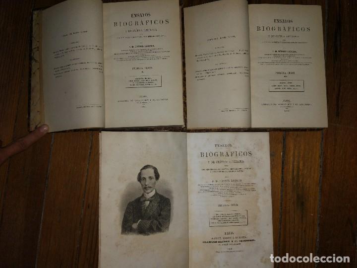 Libros antiguos: Ensayos Biográficos y de Crítica Literaria. Torres Caicedo. Primera y Segunda Serie. 3 vol. 1863-68 - Foto 2 - 115245291