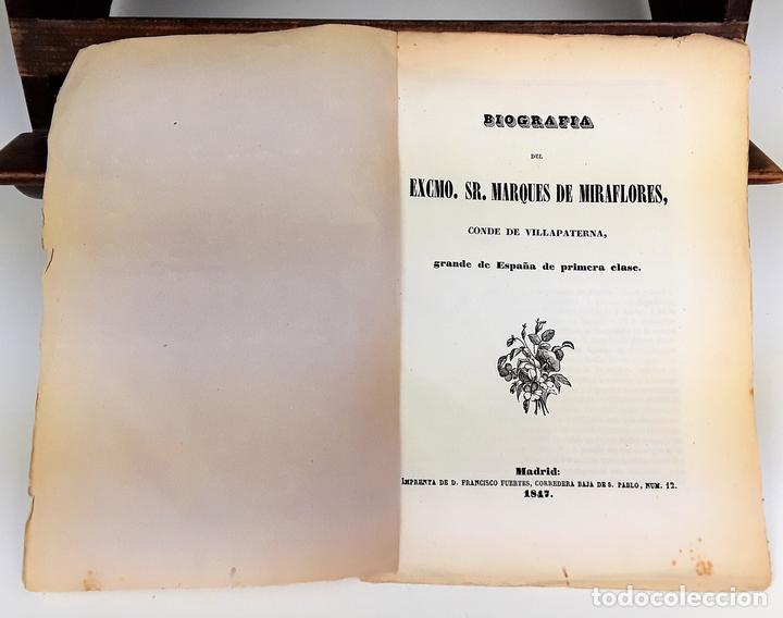 BIOGRAFÍA DEL EXCMO SR MARQUES DE MIRAFLORES. 1847. (Libros Antiguos, Raros y Curiosos - Biografías )