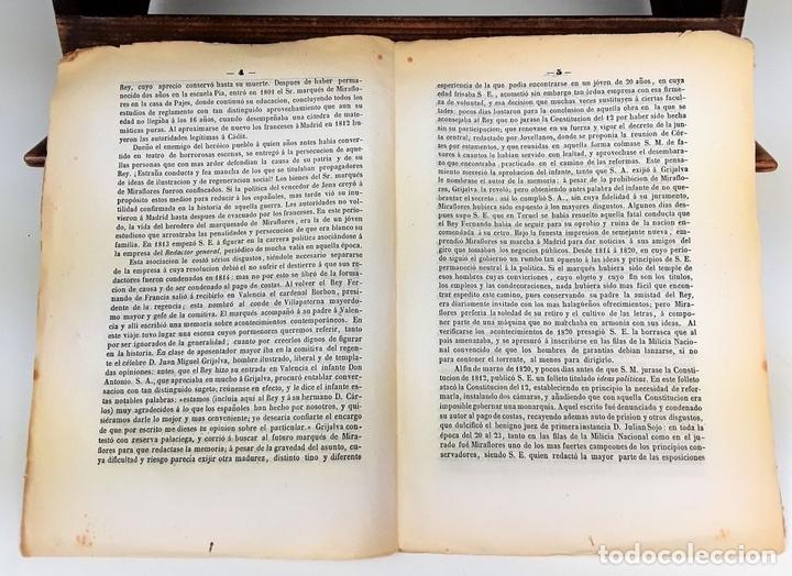 Libros antiguos: BIOGRAFÍA DEL EXCMO SR MARQUES DE MIRAFLORES. 1847. - Foto 2 - 117893743
