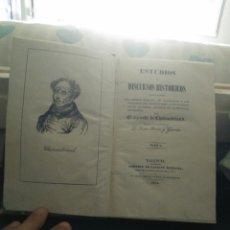 Libros antiguos: CHATEAUBRIAND, DISCURSOS HISTORICOS, TOMO I, VALENCIA 1841. Lote 131356367
