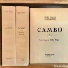 Libros antiguos: BIOGRAFIA COMPLETA DE FRANCESC CAMBÓ, POR JESÚS PABÓN. 3 VOLÚMENES. PERFECTO ESTADO.. Lote 133033190