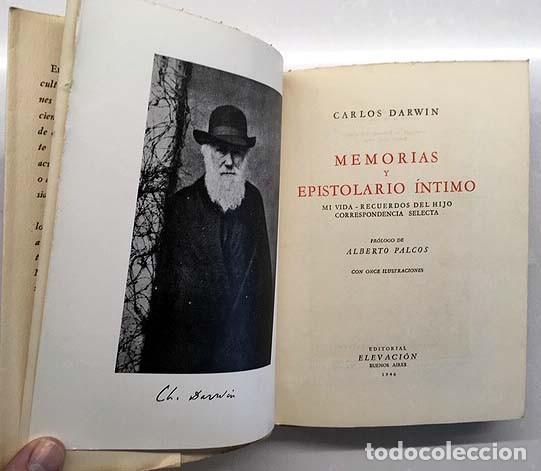 Libros antiguos: Darwin : Memorias y epistolario íntimo. (1ª ed., 1946) Mi vida. Recuerdos del hijo. Correspondencia - Foto 2 - 145408158