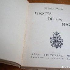 Libros antiguos: BROTES DE LA RAZA. 16 BIOGRAFIAS HISTORICAS.MEJÍA, ABIGAIL PUBLICADO POR ARALUCE S.A, BARCELONA . Lote 147088250