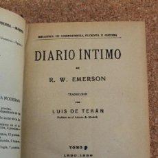 Libros antiguos: DIARIO ÍNTIMO. 1820-1889. EMERSON (R.W.) MADRID, LA ESPAÑA MODERNA, S.A. (191.). Lote 149972654