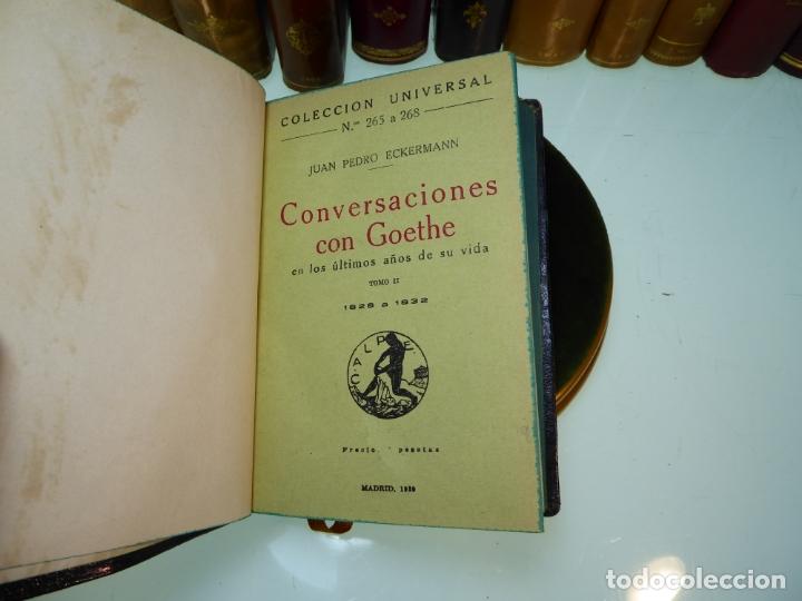 Libros antiguos: Conversaciones con Goethe en los últimos años de su vida. Juan Pedro Eckermann. 3 tomos. 1920. - Foto 9 - 168133644
