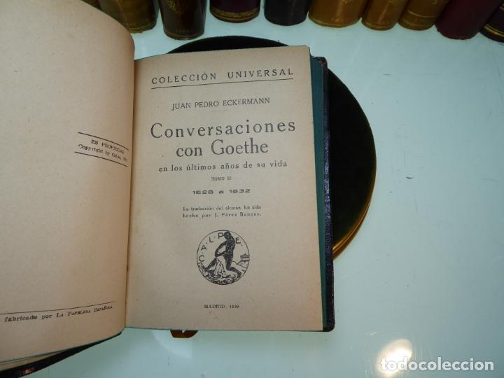 Libros antiguos: Conversaciones con Goethe en los últimos años de su vida. Juan Pedro Eckermann. 3 tomos. 1920. - Foto 10 - 168133644