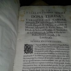 Libros antiguos: A LA EXCELENTISSIMA SEÑORA DOÑA TERESA ENRIQUEZ DE CABRERA, MARQUEFA DEL CARPIO, DUQUEFA DE MONTORO. Lote 168134984
