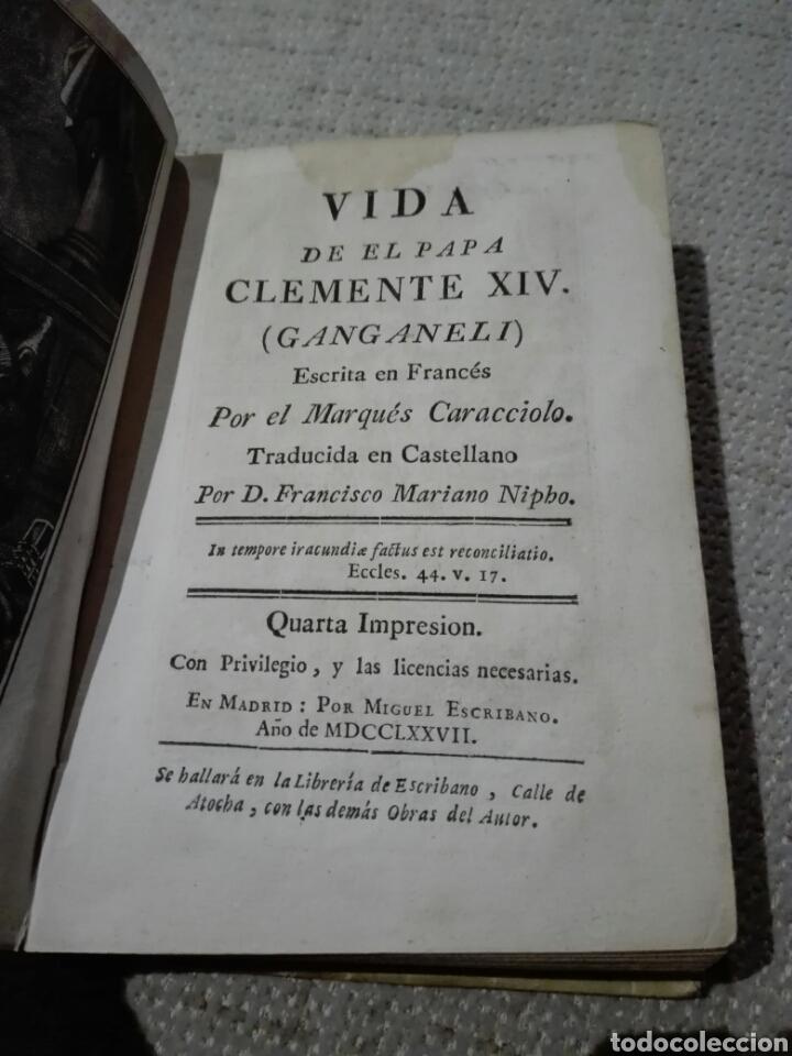 Libros antiguos: Pergamino S. XVIII. CARACCIOLO (Marqués). 1777. Vida de el Papa Clemente XIV (Ganganelli.) - Foto 2 - 168237933