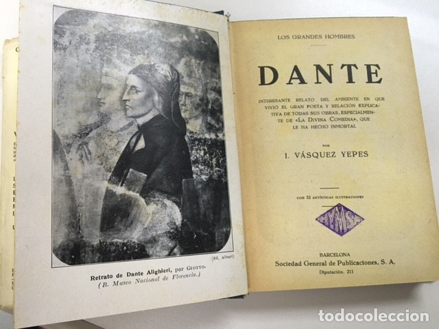 Libros antiguos: Dante de I. Vásquez Yepes - Colección Grandes Hombres - Foto 2 - 177666452