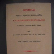 Livros antigos: MEMORIAS PARA LA VIDA DEL EXCMO SEÑOR D. GASPAR MELCHOR DE JOVELLANOS - JUAN AGUSTIN CEÁN BERMUDEZ. Lote 179194530