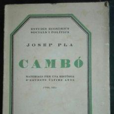 Livres anciens: JOSEP PLA. CAMBÓ. VOL. III. 1930. Lote 179374333