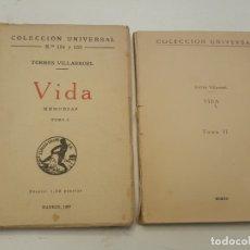 Libros antiguos: TORRES VILLARROEL. VIDA. MEMORIAS. TOMO I Y II. 1920.. Lote 180994791