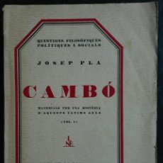 Libros antiguos: JOSEP PLA. CAMBÓ. VOL. I. 1928. Lote 181222183