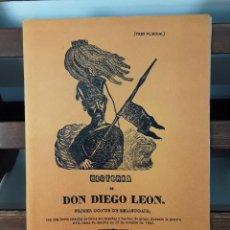 Libros antiguos: HISTORIA DE DON DIEGO LEÓN. (TRES PLIEGOS) FACSÍMIL. LIBR. PARÍS VALENCIA. MADRID. . Lote 184339591