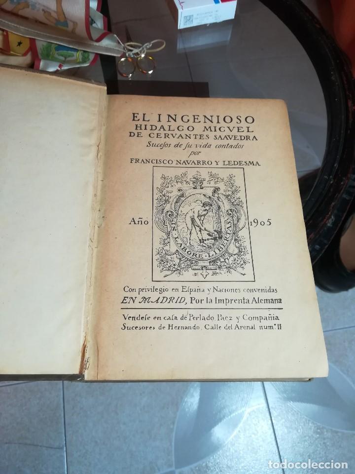Libros antiguos: EL INGENIOSO HIDALGO MIGUEL DE CERVANTES... SUCESOS DE SU VIDA.. POR FRANCISCO NAVARRO Y LEDESMA - Foto 2 - 189605366