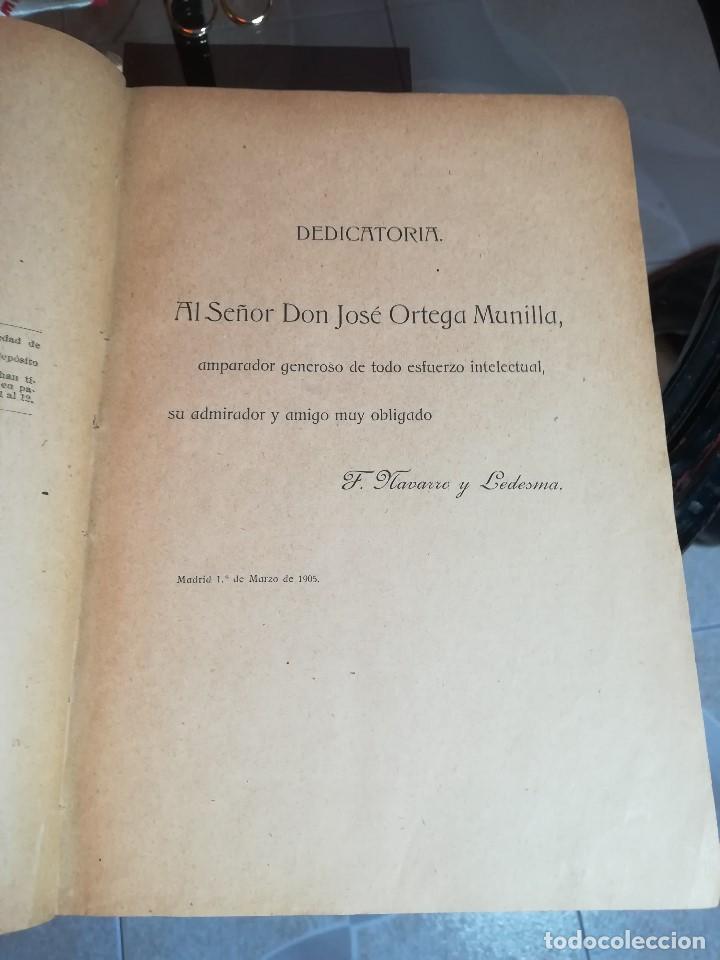 Libros antiguos: EL INGENIOSO HIDALGO MIGUEL DE CERVANTES... SUCESOS DE SU VIDA.. POR FRANCISCO NAVARRO Y LEDESMA - Foto 3 - 189605366