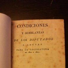 Libros antiguos: TRIENIO LIBERAL- CONDICIONES Y SEMBLANZAS DE LOS DIPUTADOS A CORTES PARA LA LEGISLATURA DE 1820 1821. Lote 192060263