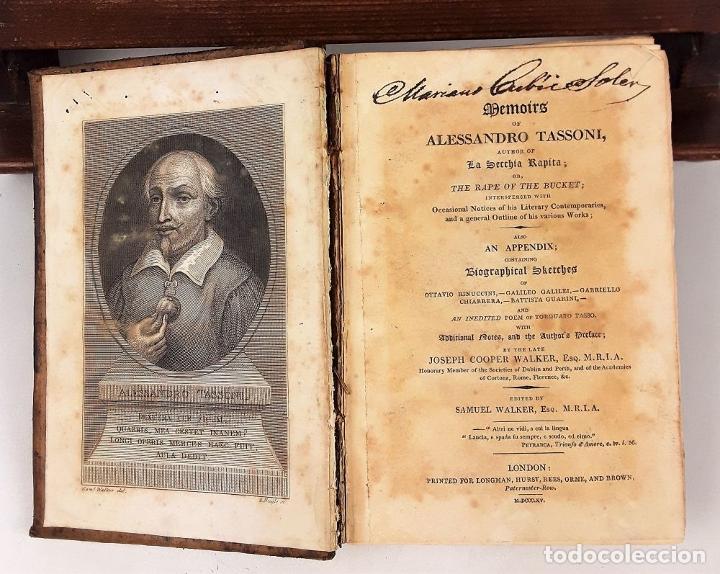 Libros antiguos: MEMOIRS OF ALESSANDRO TASSONI. PRINTED LONGMAN, HURST, REES, ORME, AND BROWN. LONDON. 1825 - Foto 6 - 137980282