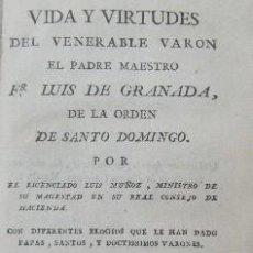 Libros antiguos: VIDA Y VIRTUDES DEL VENERABLE VARON EL PADRE MAESTRO FR. LUIS DE GRANADA. A-BI-2819. Lote 194935462