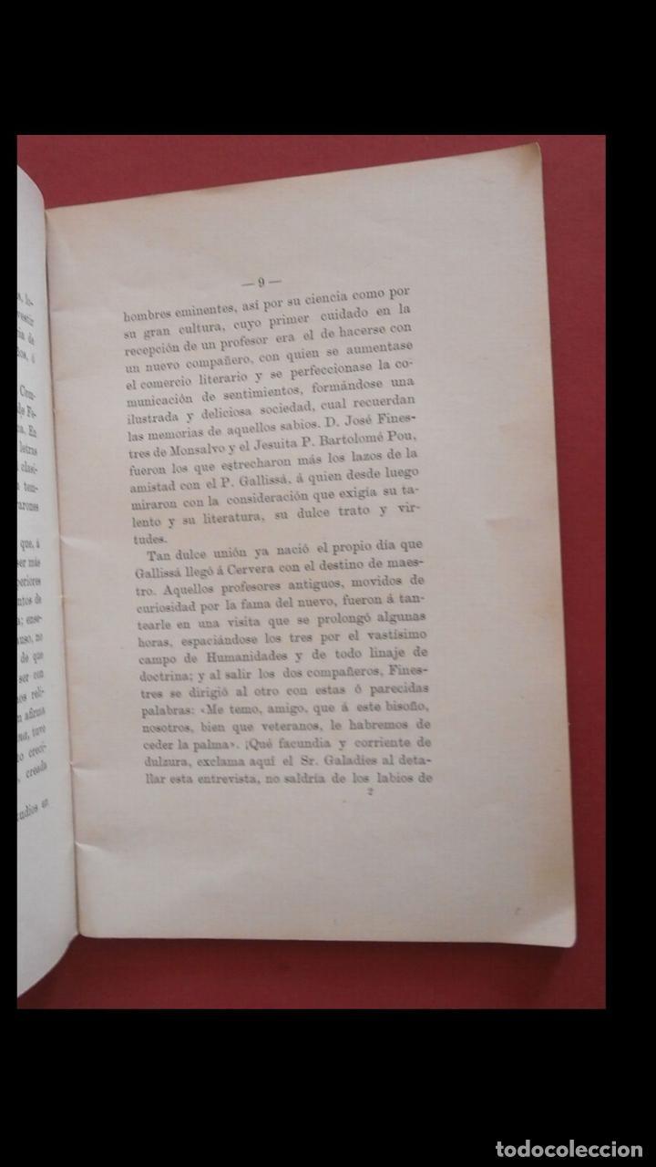 Libros antiguos: P. Luciano Gallissá y Costa. Discurso biografico leido el dia.. por D. José Galobardes - Foto 3 - 194993215
