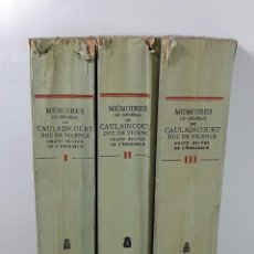 Libros antiguos: MÉMOIRE DU GÉNÉRAL DE CAULAINCOURT. 3 TOMOS. LIBR. PLON. PARÍS. 1933.. Lote 195299802