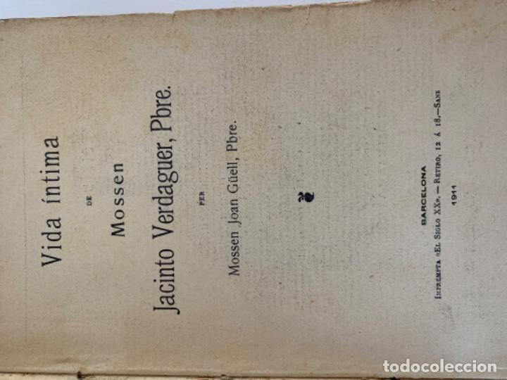 Libros antiguos: Vida íntima de Mossen Jacinto Verdaguer de Joan Güell, sobre. - Foto 2 - 197081028