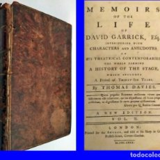 Libros antiguos: AÑO 1780. MEMORIAS DE LA VIDA DE DAVID GARRICK. EDITADO EN LONDRES.. Lote 212923721