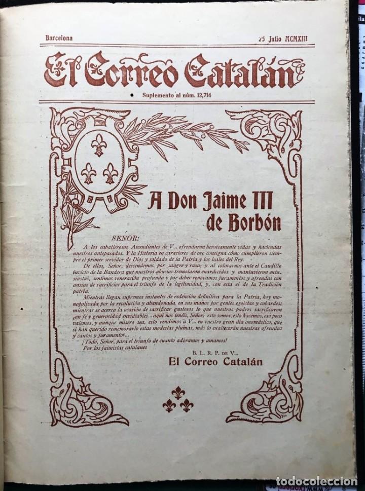EL CORREO CATALÁN. SUPLEMENTO. 1913, DEDICADO A D. JAIME III DE BORBÓN, CARLISTA (Libros Antiguos, Raros y Curiosos - Biografías )