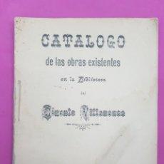 Libros antiguos: CATALOGO DE LAS OBRAS EXISTENTES EN LA BIBLIOTECA DEL CIRCULO VILLENENSE ,VILLENA 1894. Lote 217028418
