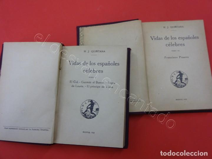 Libros antiguos: VIDA DE LOS ESPAÑOLES CÉLEBRES. Quintana. Madrid 1922. Dos tomos - Foto 2 - 217476721