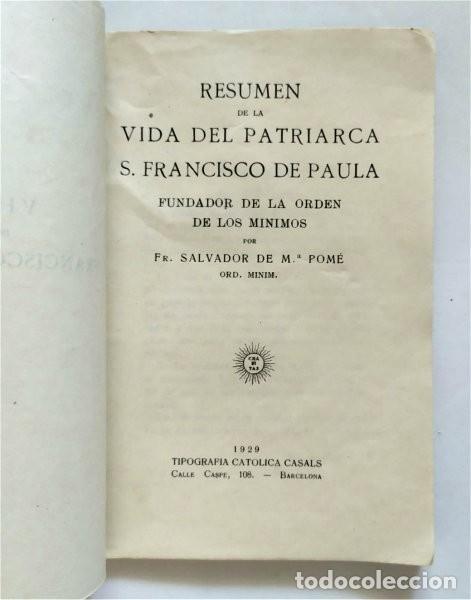 Libros antiguos: Vida de San Francisco de Paula. Fundador Orden de los Mínimos. Fr. Salvador de Mª Pomé. 1929 - Foto 2 - 219703142